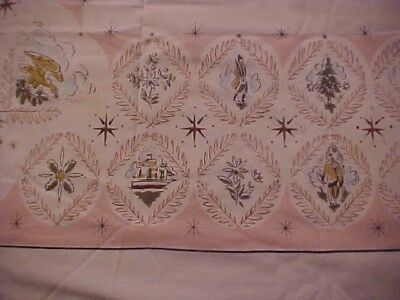 VINTAGE PRINTED TABLECLOTH, PINK WITH FLOWERS, MEN, and TREES
