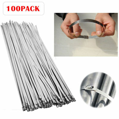 100Pcs Stainless Steel Header Wrap Self Locking Cable Zip Ties Metal Bulk
