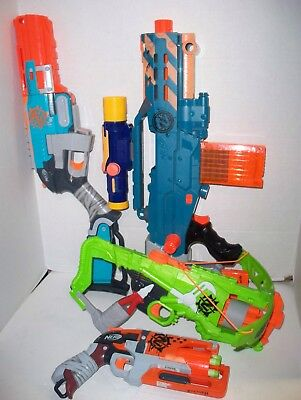 Mixed lot of 7  Nerf Dart Blasters Zombie Strike & More