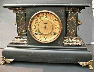 Antique E. Ingram Connecticut Mantel Clock For Repair Or Parts 8-Day Gong Lions