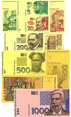Croatia Special Set of 10 Cut Bank Notes,Printers Proofs BY GIESECKE & DEVRIENT