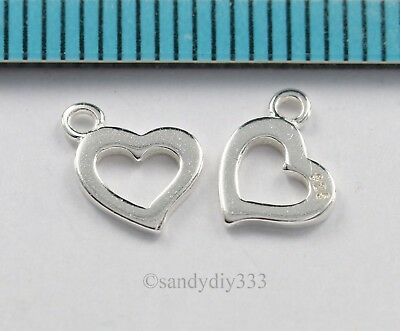 4x BRIGHT STERLING SILVER HEART DANGLE PENDANT CHARM 6.8mm 6.1mm #2971