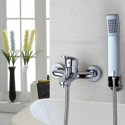 US Chrome Rainfall Wall Mount Bathroom Bathtub Hand Shower Mixer Tub Taps Faucet