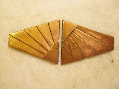 Vintage Art Deco Belt Buckle Topper, Raw Heavy Stamped Brass, 2 Matched Pieces