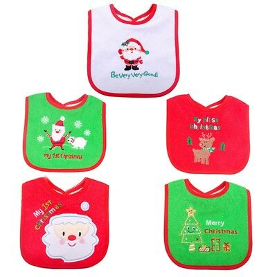 Lovely Reindeer Santa Baby First Christmas Bib  Back Waterproof Home Party Decor