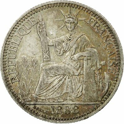 [#483376] Münze, FRENCH INDO-CHINA, 10 Cents, 1888, Paris, SS, Silber, KM:2