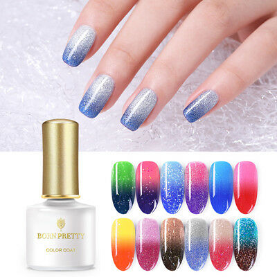 BORN PRETTY Thermal Glitter UV Gel Polish Soak Off Color Changing Gel Varnish