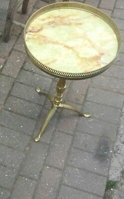 Beautiful Vintage? Antique? Three Legged round Brass coffee table Marble? Top