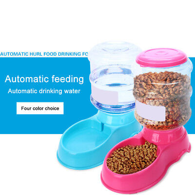 Auto Pet Water Dispenser Feeder Dog Cat Travel Food Dish Bowl Bottle 3.5L KM0b
