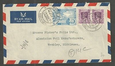 Burma 1948 - Commercial airmail cover to Wembley, (England) - SG86, SG58