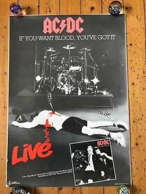 """AC/DC Original Record Store Poster 'If You Want Blood You've Got It' 21"""" x 31"""""""