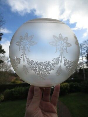 Old Antique Crystal Etched  Round Ball Duplex Oil Lamp Shade