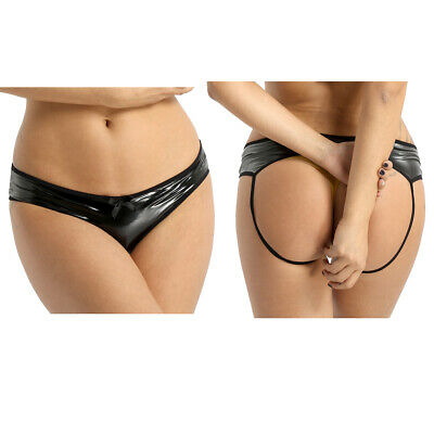 Damen Wetlook Ouvertslip Leder-Optik Bikini Slips Jockstrap Unterwäsche Sexy