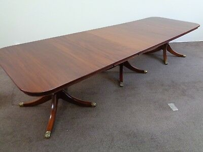 LARGE 12ft EXTENDING SOLID MAHOGANY DINING TABLE ANTIQUE STYLE BOARDROOM TABLE
