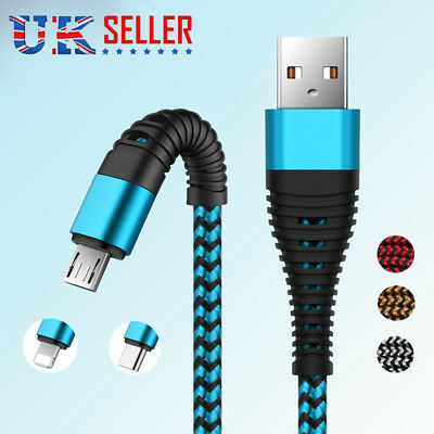 UK Braided USB Quick Charger Data Charging Cable Lead For iPhone 6s 7 8 X 6 5s