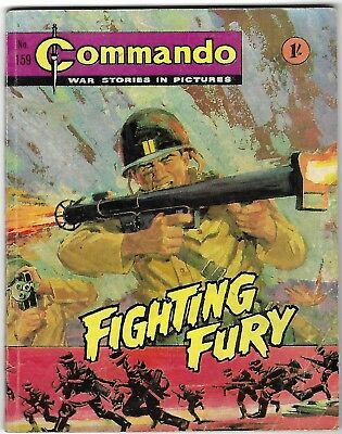 """Dated 1965. Vintage COMMANDO War Picture Comic # 159. """"Fighting Fury"""""""