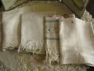 4 Antique Hand Embellished Linen Towels, Embroidery, Fringes, Drawn Thread!