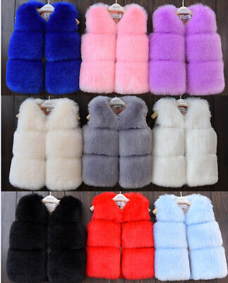 Kids Girls Luxury Faux Fur Vest Thick Warm Gilet Waistcoat Coat Furry Jacket