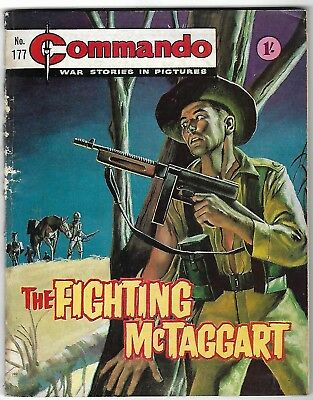 """Dated 1965. Vintage COMMANDO War Picture Comic # 177. """"The Fighting McTaggart"""""""