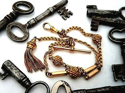 Gorgeous antique Victorian Albertina watch/chatelaine chain...gold plated.