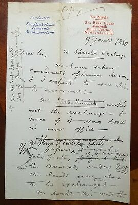 1880 Letter from William Dickson, Sea Bank House, Alnmouth, Northumberland