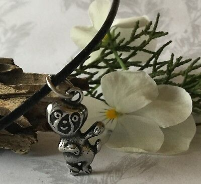 Small Stainless Steel SLOTH Pendant Charm NECKLACE Unisex Black LEATHER Cord