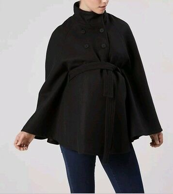 Mamalicious Maternity Black WoolCape Coat, New with tags - Size L