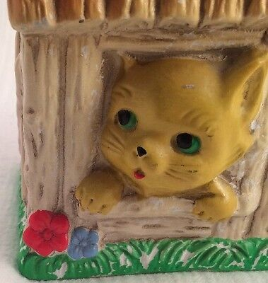 Kitty Cat Chalk Money Bank RIES Japan Hand Decorated Home House 60's Sticker PLG