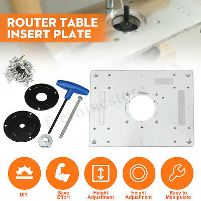 297 X 235 X 9mm Aluminium Router Table Insert Plate & Ring For Woodworking Bench