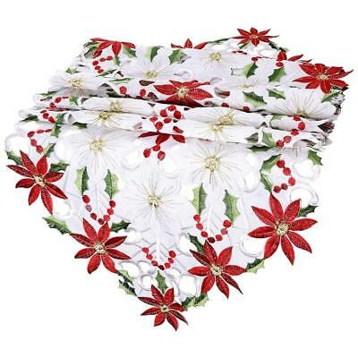Christmas Embroidered Table Poinsettia Holly Leaf Table for Christmas Decor Q4X8