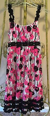 Justice Girl's Black and Hot Pink Ruffled Sequined Dress Size 16
