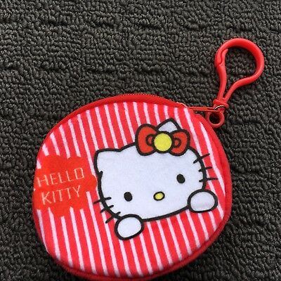 """HELLO KITTY """"Red Stripe"""" Novelty Soft Plush Fashion Coin Purse Bag Pouch **NEW**"""