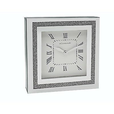 Large Square Mirror Silver Glass Crystal Jewel Diamond Gem Mantle Wall Clock -30