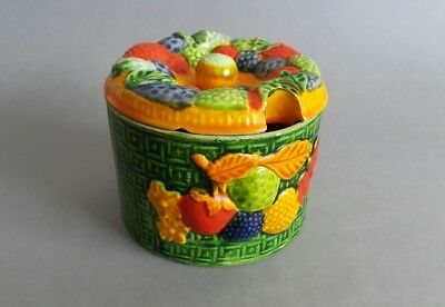 Vintage Marutomoware Japan Jam Preserve Pot + Lid Fruit Style