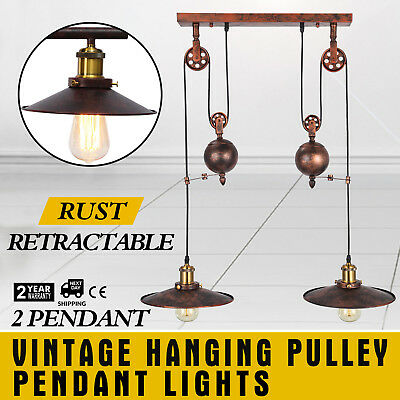 Vintage Hanging Pulley Pendant Lights