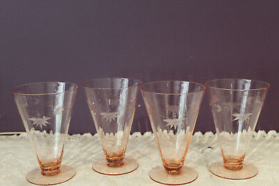 Set Of 4 Pink Depression Footed Optic Etched Water Glasses