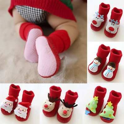 Baby Girls Boys Anti-slip Socks Christmas Floor Slipper Shoes Boots Step Socks