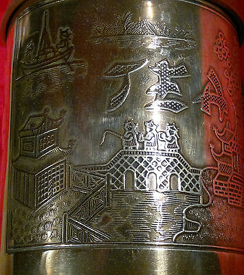 "Vintage Antique ""Chinese""Copper & Brass Tea Caddy-Tin Lined- 5"" Tall"