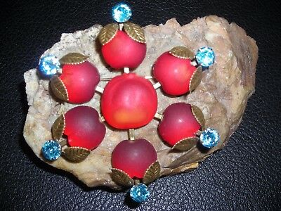 Vintage  Austria Cherry Red  Hugh Fruit Pin Wheel Jelly Belly Rhinestone Brooch