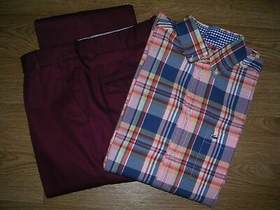 MARKS & SPENCER Autograph Boys Burgundy Trousers LACOSTE Check Shirt Age 13-14