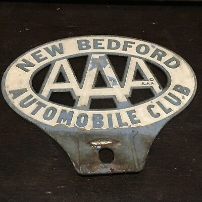Vintage Metal AAA Automobile Club of New Bedford MA Car Emblem Auto Badge MASS