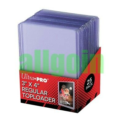 "Ultra Pro 25 TOPLOADER CLEAR REGULAR #81222 AW6475 PORTA CARTE RIGIDI 3"" x 4"""