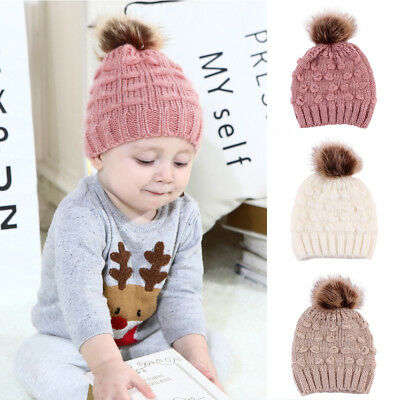 ITS- Cute Toddler Kids Baby Boy Girl Warm Knitted Hat Pompom Solid Beanie Cap Ne