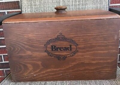 Solid Wood Vintage Etched bread box With Lid