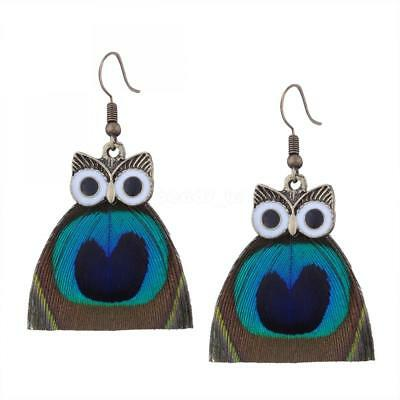 Hot Fashion Women Girls Owl Antique Gold Feather Hook Earrings New Jewelry Gifts