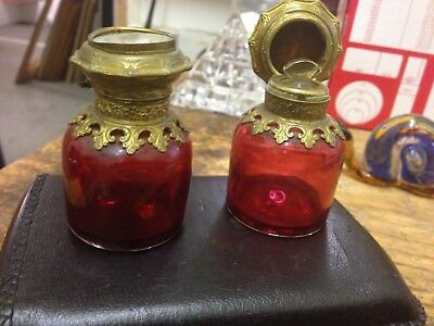Antique Cranberry Glass Gilt Scent Bottles With Stoppers