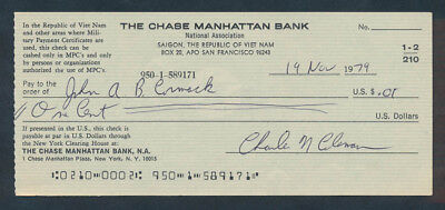 """USA: South Vietnam 1970s Chase Manhattan Bk """"RARE CHEQUE PAYABLE ONLY IN MPCs"""""""