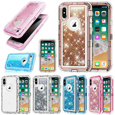 360°Liquid Glitter Bling Heavy Duty Defender Case Cover For iPhone XS MAX XR 7 8