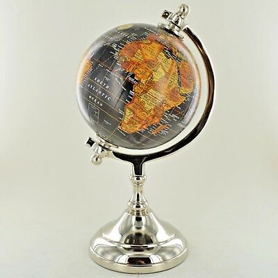"Globe in Antique Black 5"" with Metal Base Luxury Unique Home Decor Small 11363"