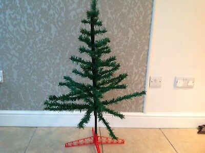 Vintage Skinny green tinsel Christmas Tree Holly berries on end of branches